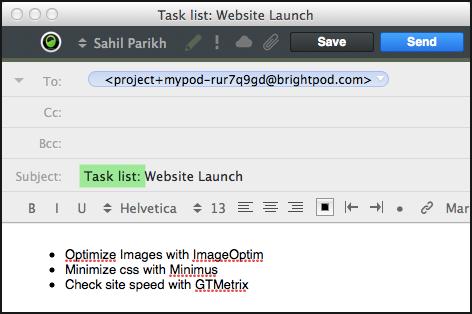 Brightpod send - sending tasklist and tasks