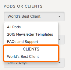 select a client to filter